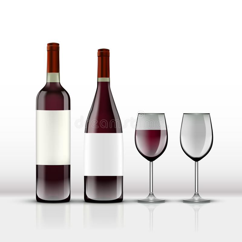 Botella de vino rojo abierta realista con la copa de vino aislada en blanco stock de ilustración