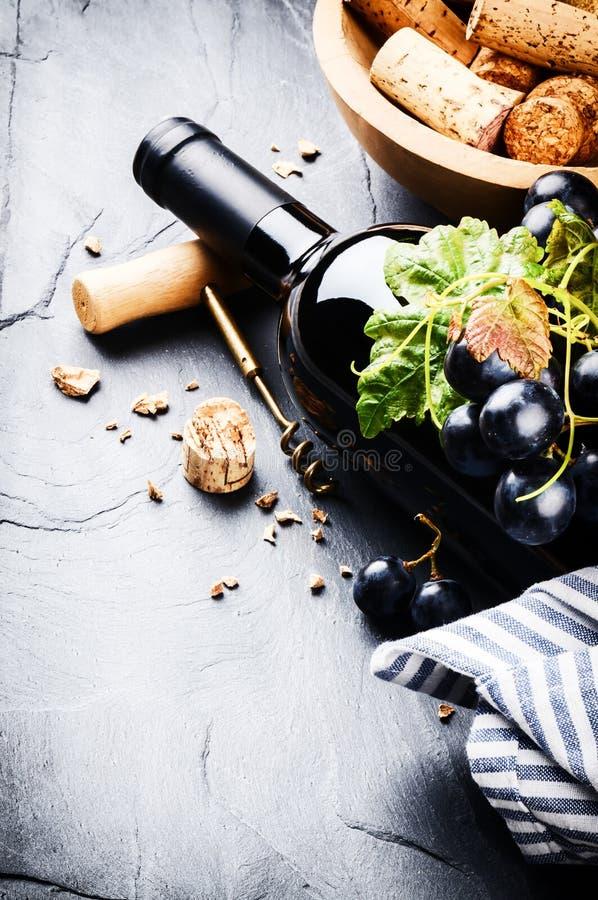 Botella de vino rojo con la uva fresca foto de archivo