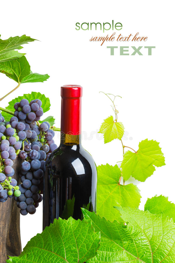 Botella de vino rojo con las uvas fotos de archivo libres de regalías