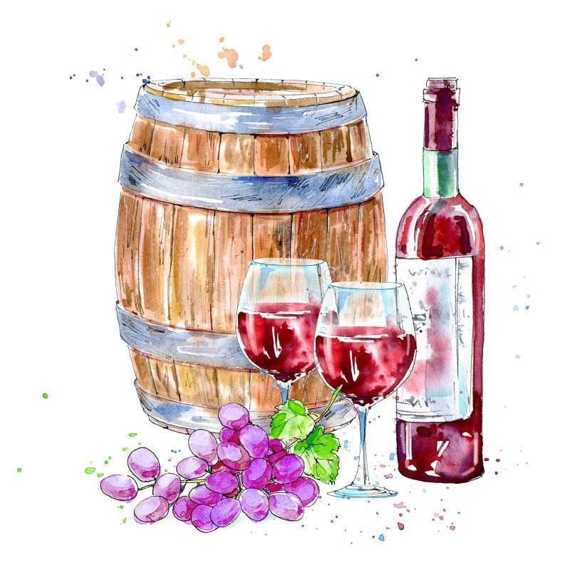 Botella de vino rojo, de vidrios, de barril de madera y de uvas stock de ilustración
