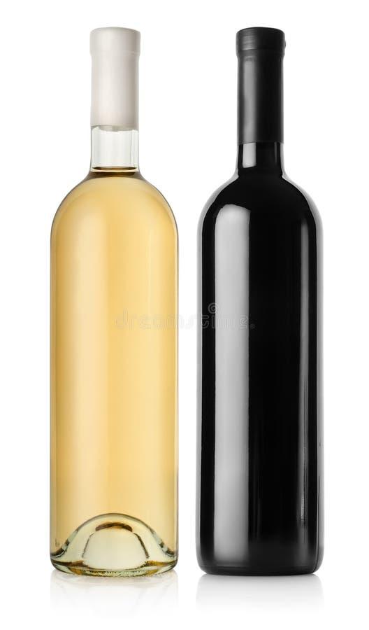 Botella de vino rojo y de vino blanco foto de archivo libre de regalías