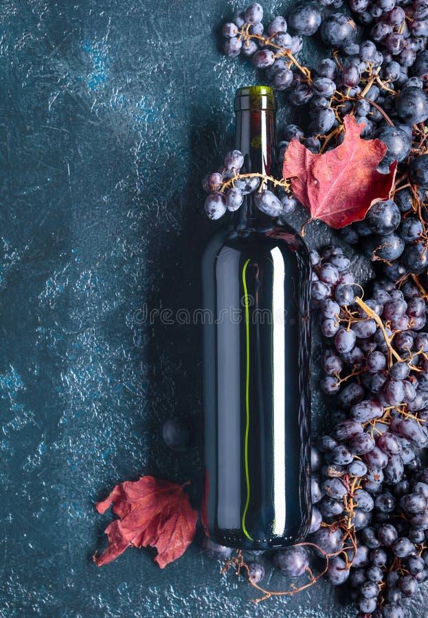 Botella de vino rojo y de uvas fotos de archivo libres de regalías