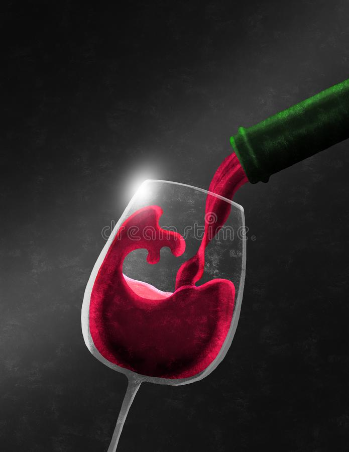Botella de vino tinto que llena un vidrio fotografía de archivo