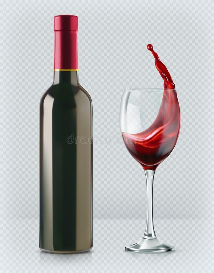 Botella de vino y de copa 3d realismo, icono del vector con la transparencia stock de ilustración