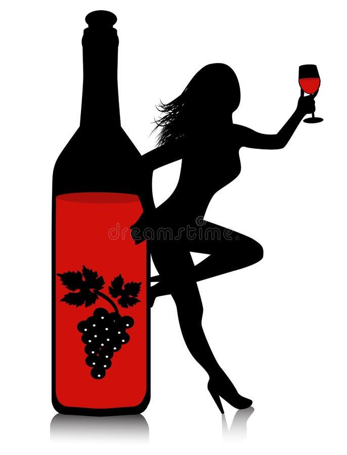 Botella de vino y de una mujer con un vidrio ilustración del vector