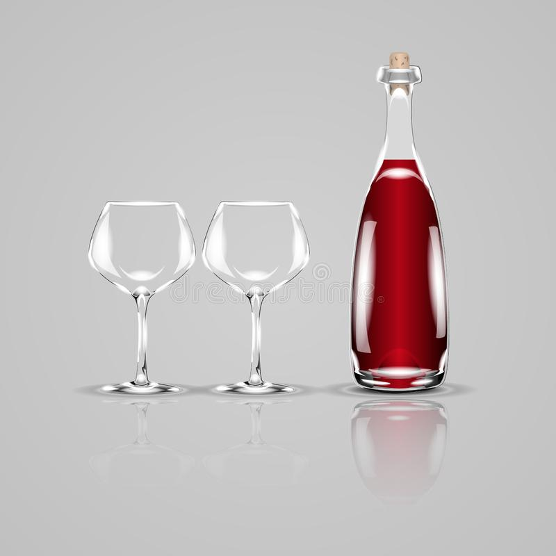 Botella de vino y de dos vidrios vacíos Ilustración realista del vector libre illustration