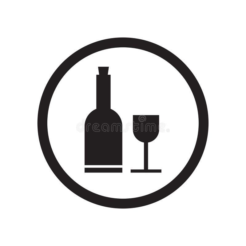 Botella de vino y muestra de cristal y símbolo del vector del icono de la muestra aislados en el fondo blanco, la botella de vino stock de ilustración