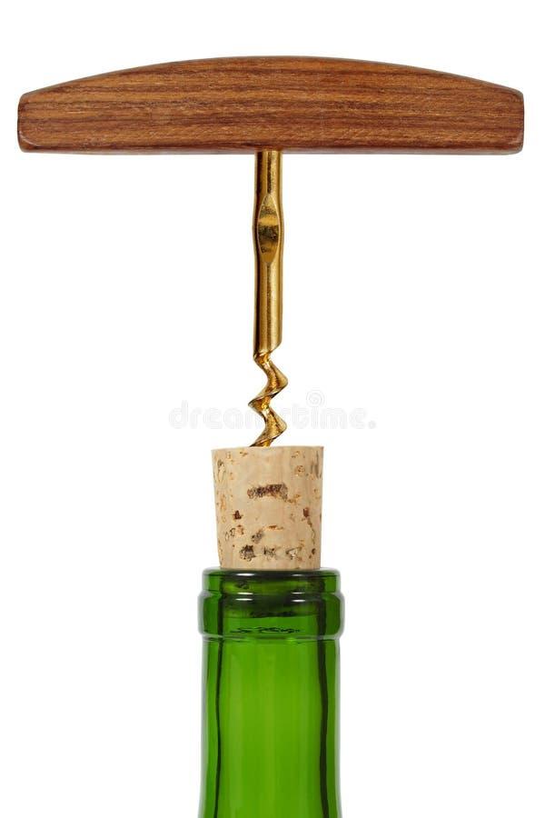 Botella de vino y sacacorchos foto de archivo libre de regalías