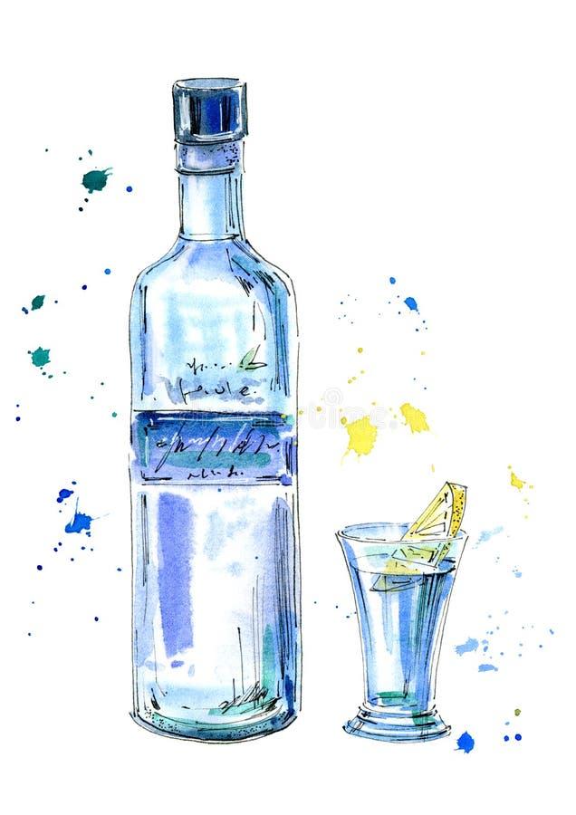 Botella de vodka y de vidrios Imagen de una bebida alcohólica libre illustration