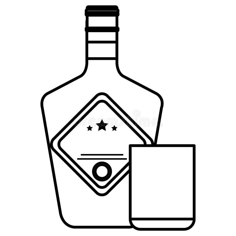Botella de whisky con el vidrio ilustración del vector