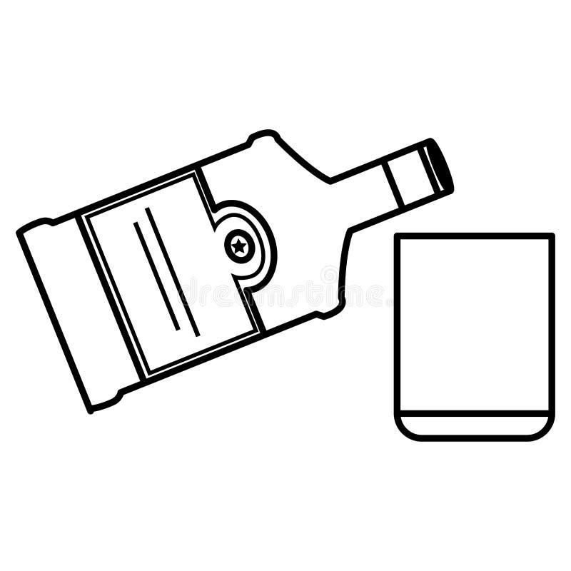 Botella de whisky con el vidrio stock de ilustración