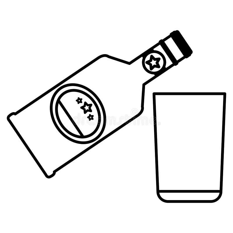 Botella de whisky con el vidrio libre illustration