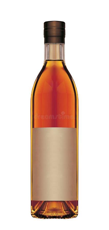Botella de whisky llena aislada en blanco imagen de archivo libre de regalías