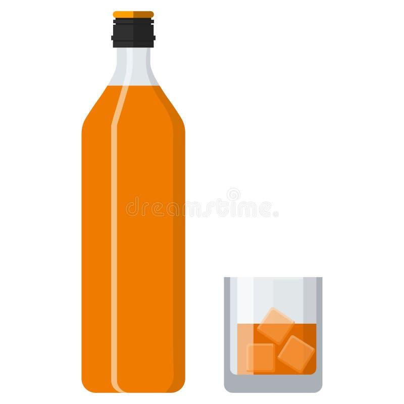 Botella de whisky y de vidrio de borbón con hielo libre illustration