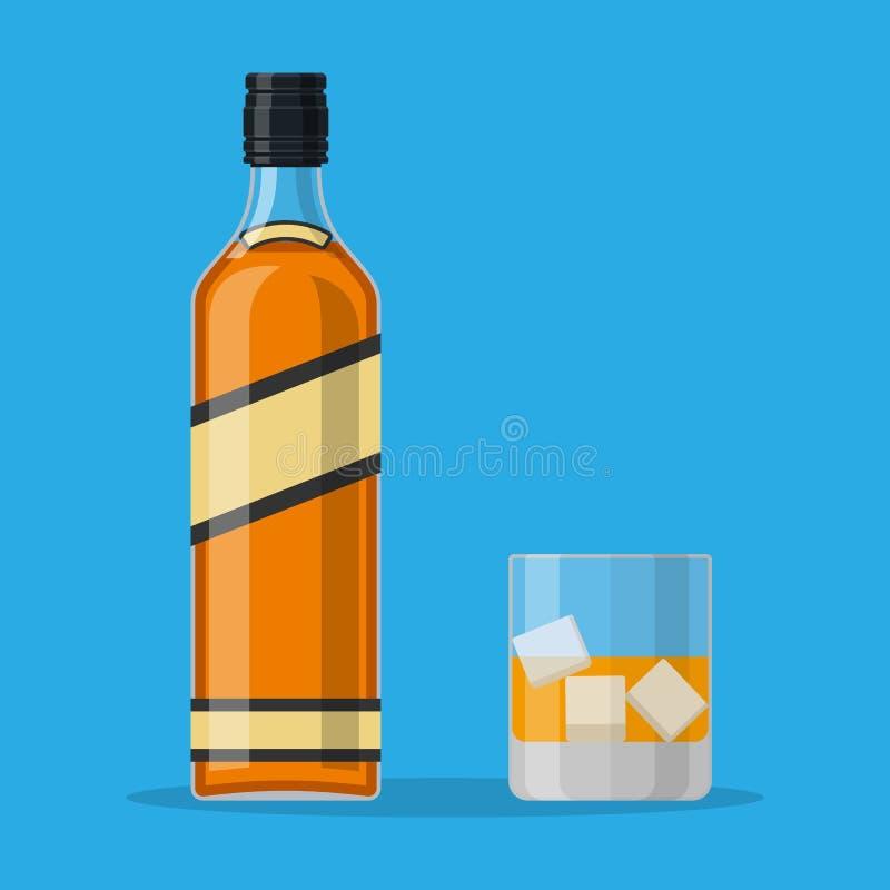 Botella de whisky y de vidrio de borbón con hielo stock de ilustración