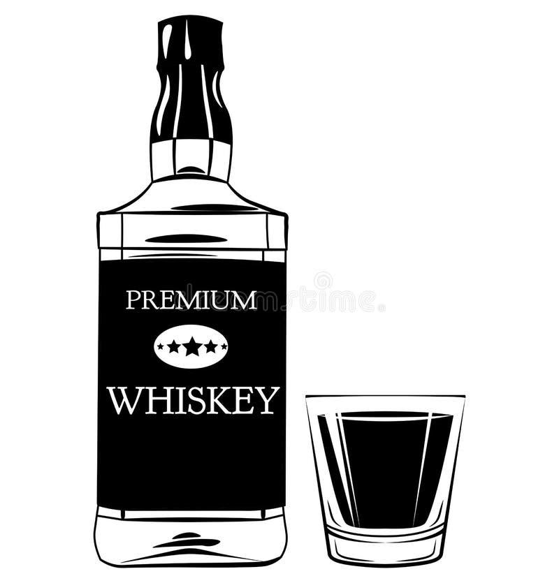Botella de whisky y vidrio de tiro Elementos del vector del vintage de la bebida del alcohol ilustración del vector
