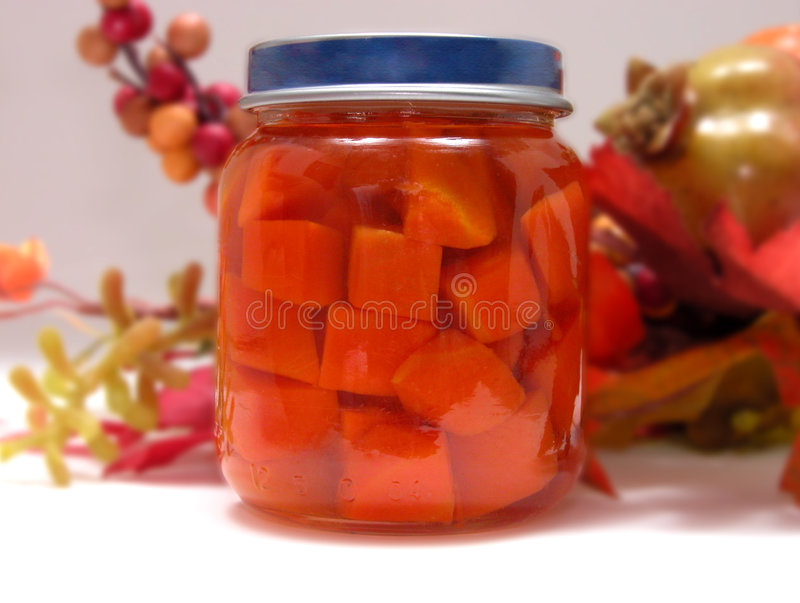 Botella De Zanahorias De Bebé Fotografía de archivo