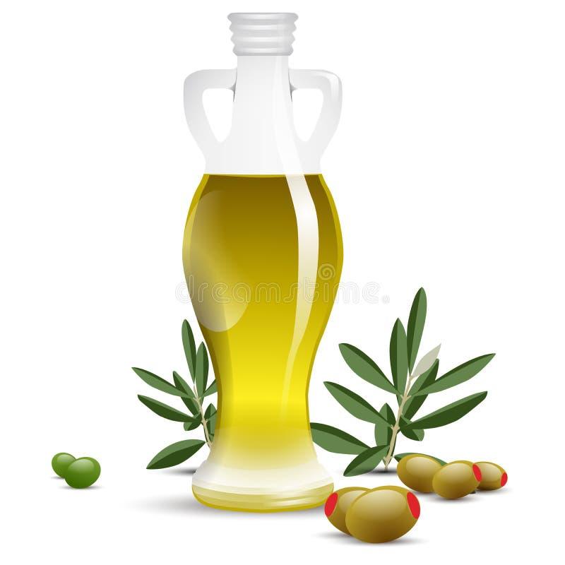 Botella del aceite de oliva con las aceitunas y las hojas verdes olivas stock de ilustración