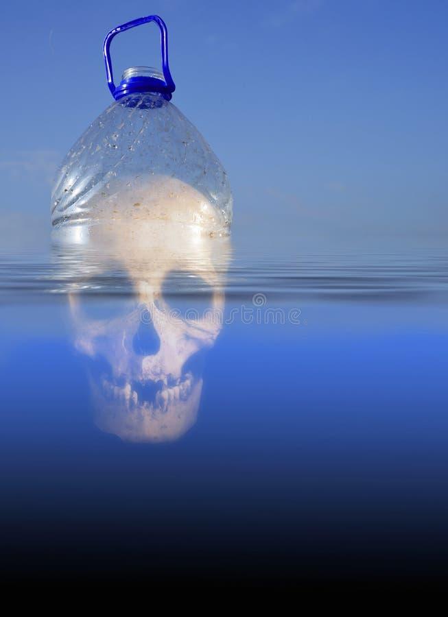 Botella del ANIMAL DOMÉSTICO humano del cráneo y agua de mar plásticas imagen de archivo libre de regalías