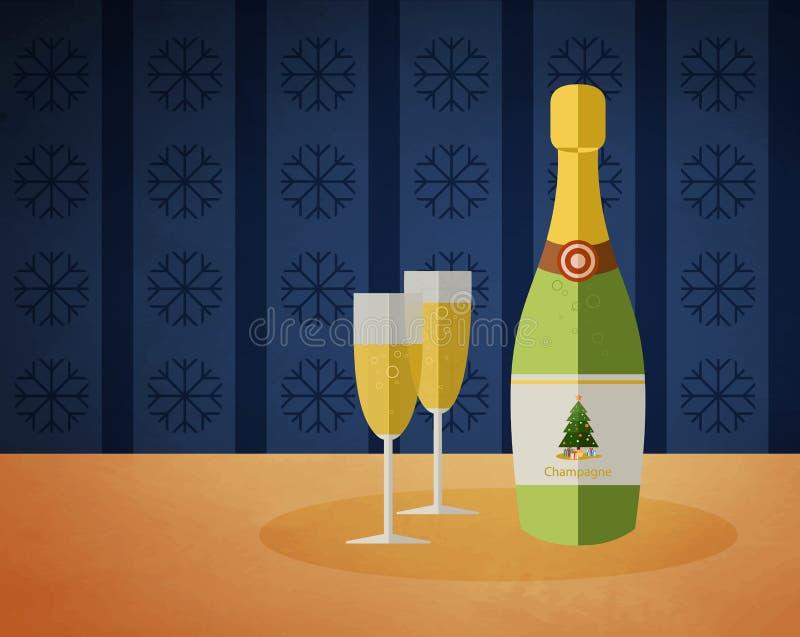 Botella del champán del Año Nuevo y dos vidrios libre illustration