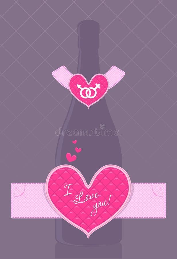 Botella del champán del vector con la escritura de la etiqueta en forma de corazón ilustración del vector