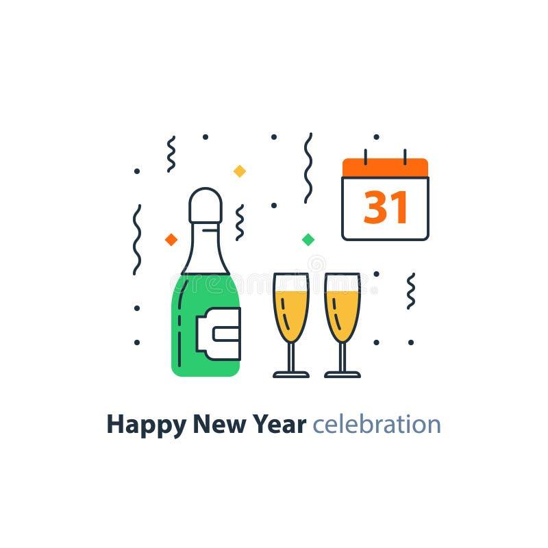 Botella del champán y de dos vidrios, calendario con el número 31, celebración del Año Nuevo, partido de la noche, icono del vect stock de ilustración