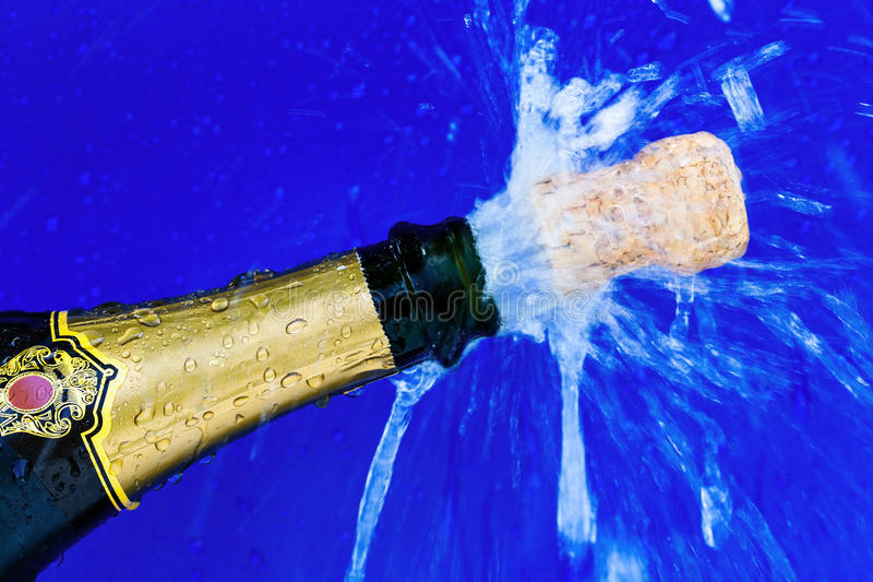 Botella del corcho y del champán fotografía de archivo libre de regalías