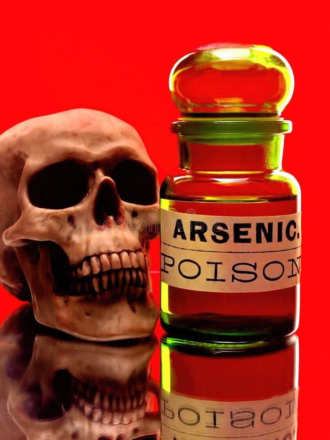 Botella del cráneo y del arsénico foto de archivo
