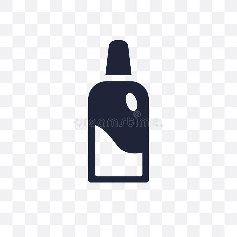 Botella del dentista con el icono transparente líquido Botella del dentista con ilustración del vector
