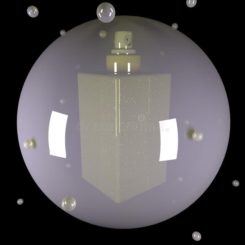 Botella del espray en una burbuja stock de ilustración