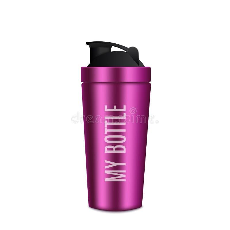 Botella del metal realista Botella rosada de la aptitud Vector stock de ilustración