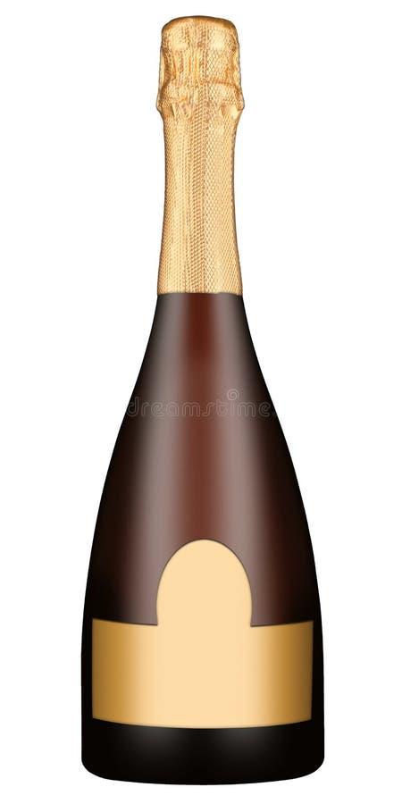 Botella del oro de vino espumoso fotografía de archivo libre de regalías