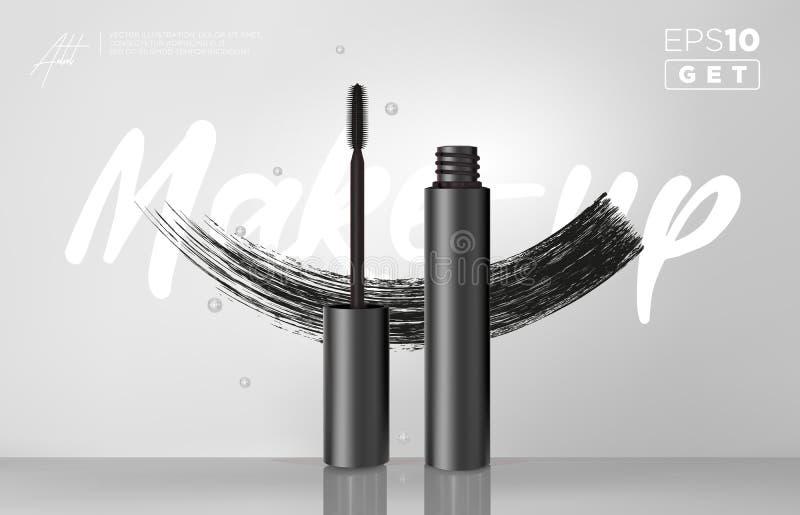 Botella del rimel del negro del vector de Gealistic Tubo del cepillo y del rimel Tubo negro de la vara y del rimel Maquillaje de  stock de ilustración
