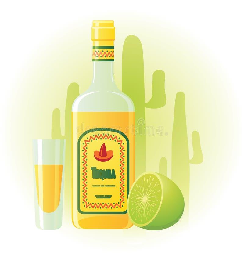 Botella del Tequila con la taza y la cal libre illustration