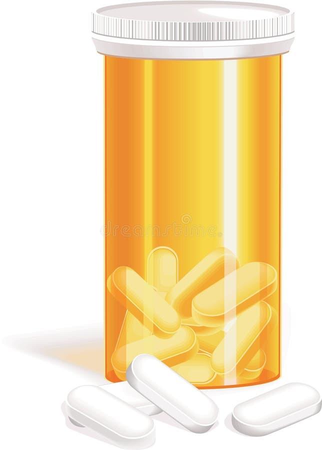 Botella del vector de píldoras ilustración del vector