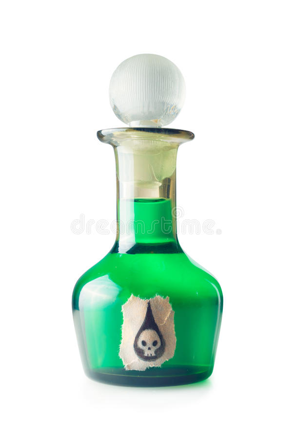 Botella del veneno aislada en un fondo blanco fotografía de archivo libre de regalías