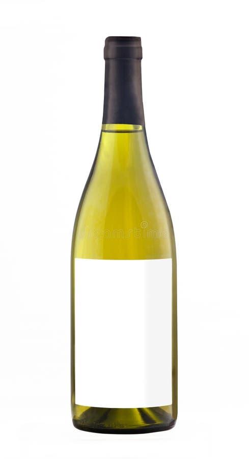 Botella del vino blanco aislada con la etiqueta en blanco foto de archivo