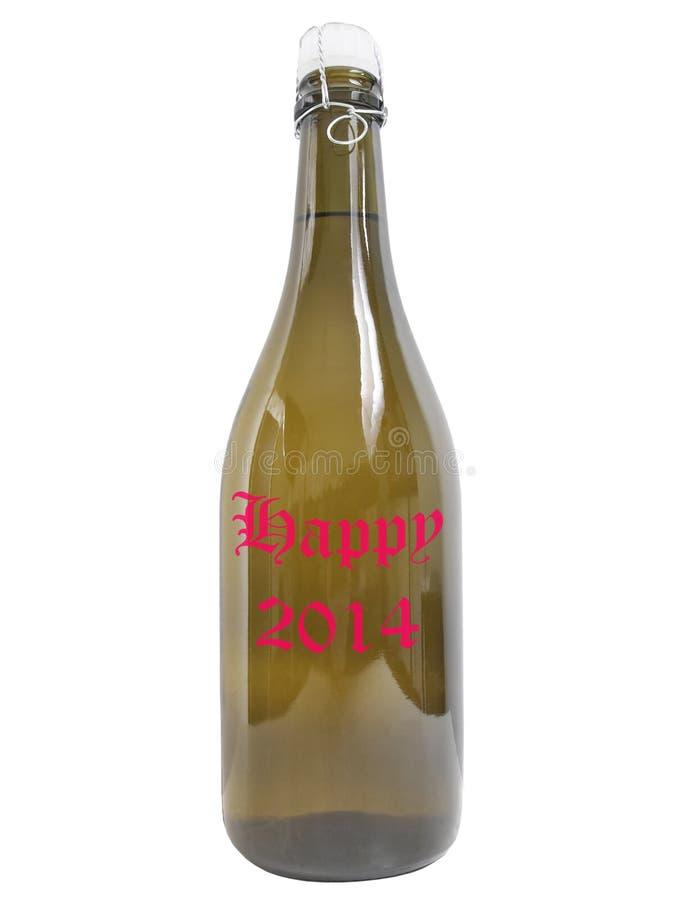 Botella del vino 2014 feliz imágenes de archivo libres de regalías