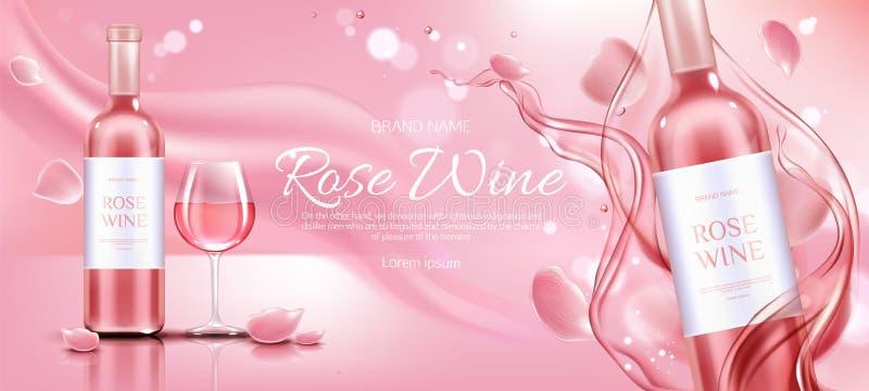 Botella del vino rosado y bandera de cristal del promo de la maqueta ilustración del vector