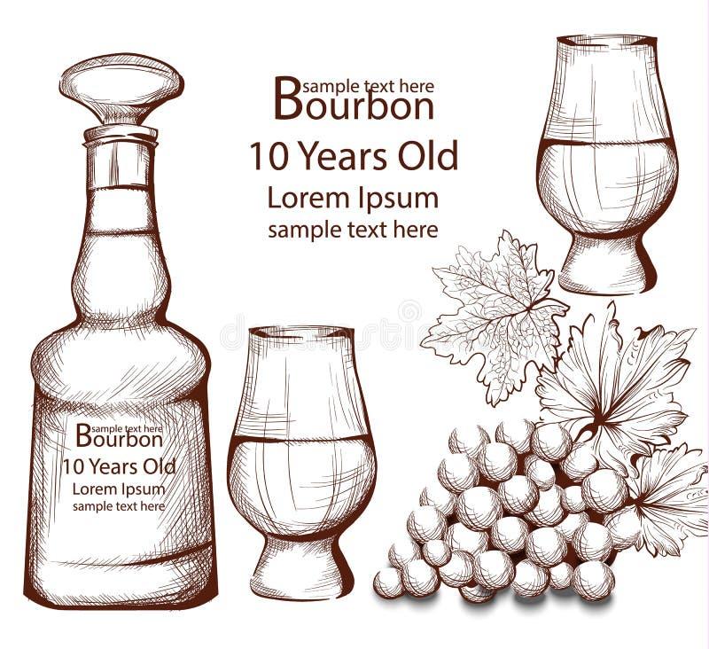Botella del vintage de Borbón en la línea ejemplos del vector del arte libre illustration