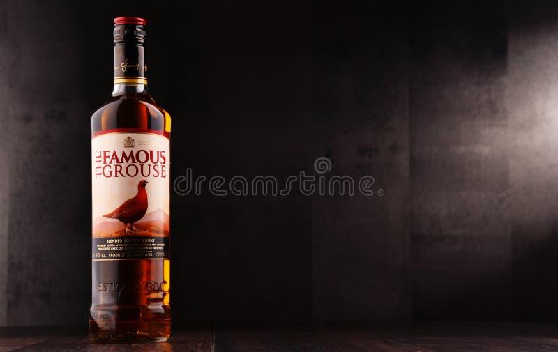Botella del whisky famoso del urogallo fotos de archivo libres de regalías