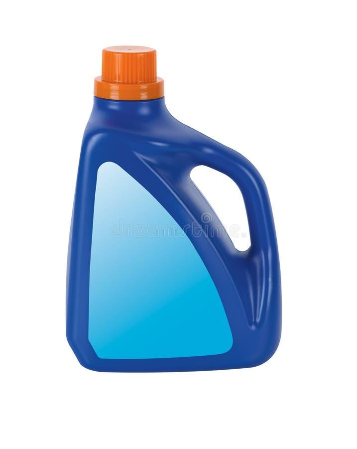 Botella detergente plástica azul fotografía de archivo