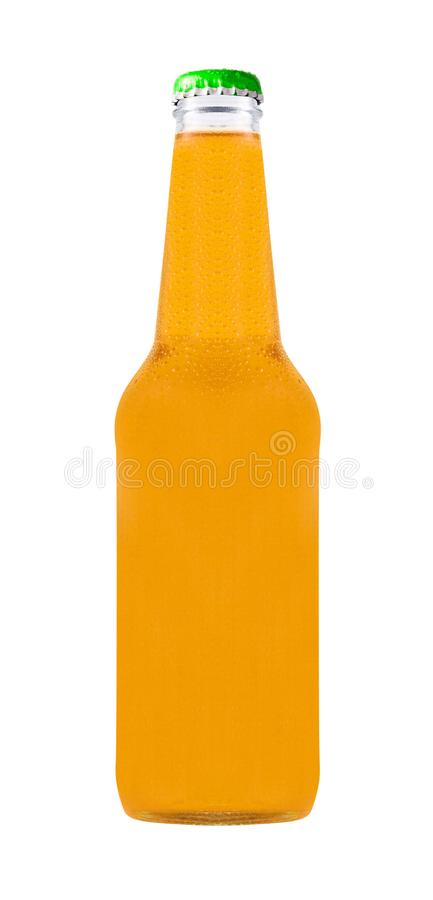 Botella en blanco con la bebida anaranjada fotos de archivo
