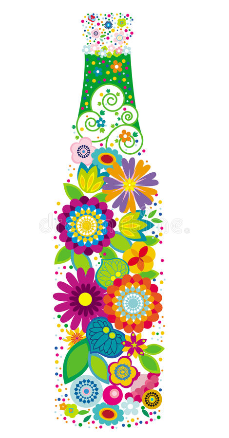 Botella floral libre illustration
