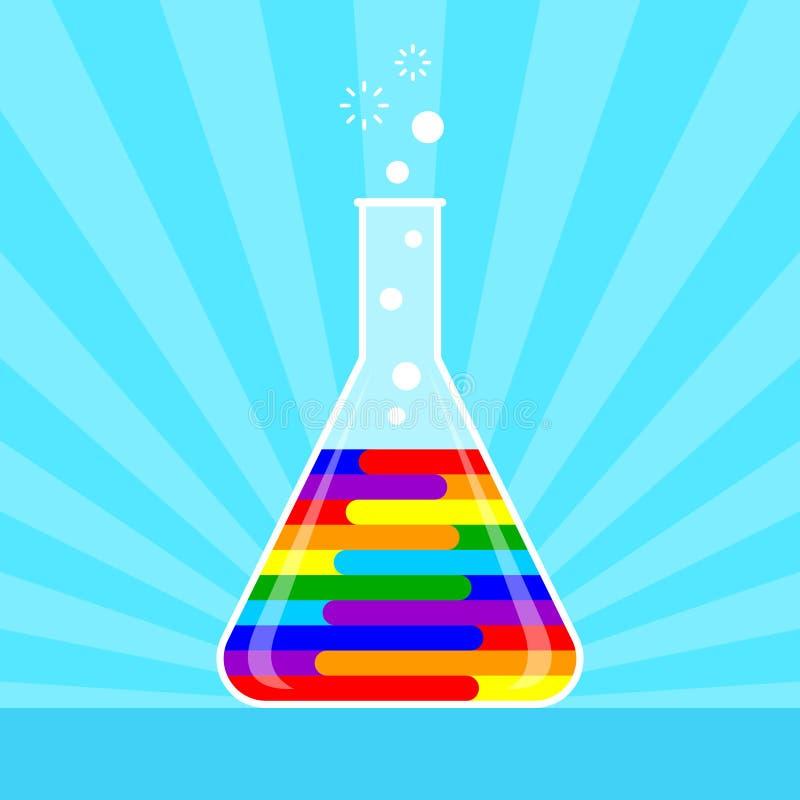 Botella grande con el líquido del arco iris dentro libre illustration