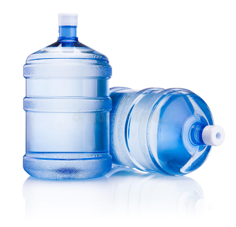 Botella grande dos de agua aislada en el fondo blanco imagen de archivo