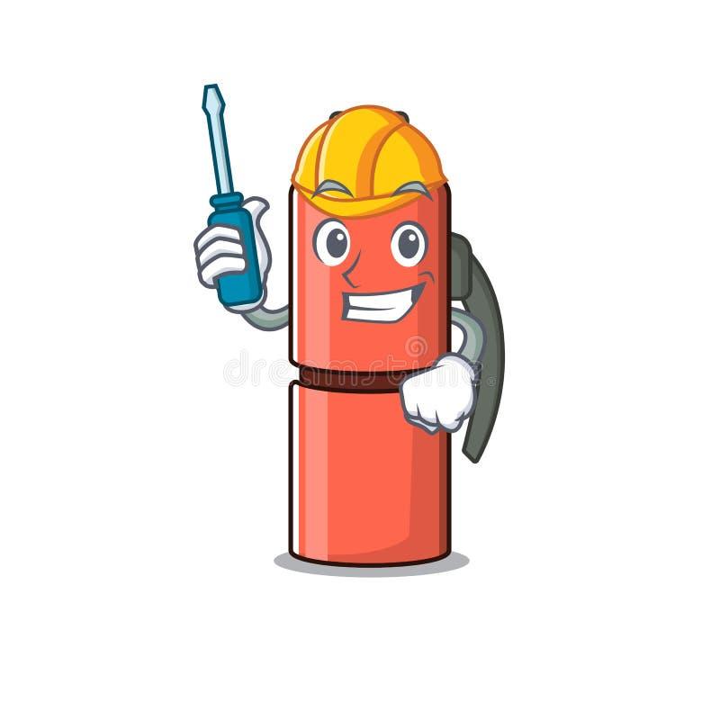 Botella inteligente de termo automotor Despacho presentado en el diseño de caricaturas stock de ilustración