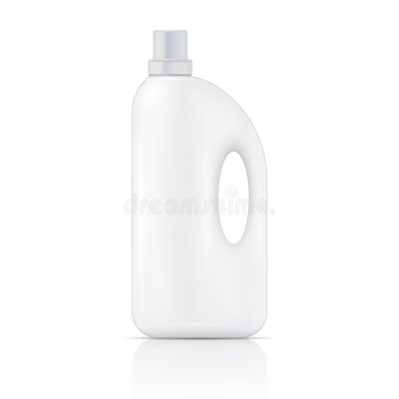 Botella líquida blanca del detergente para ropa. ilustración del vector