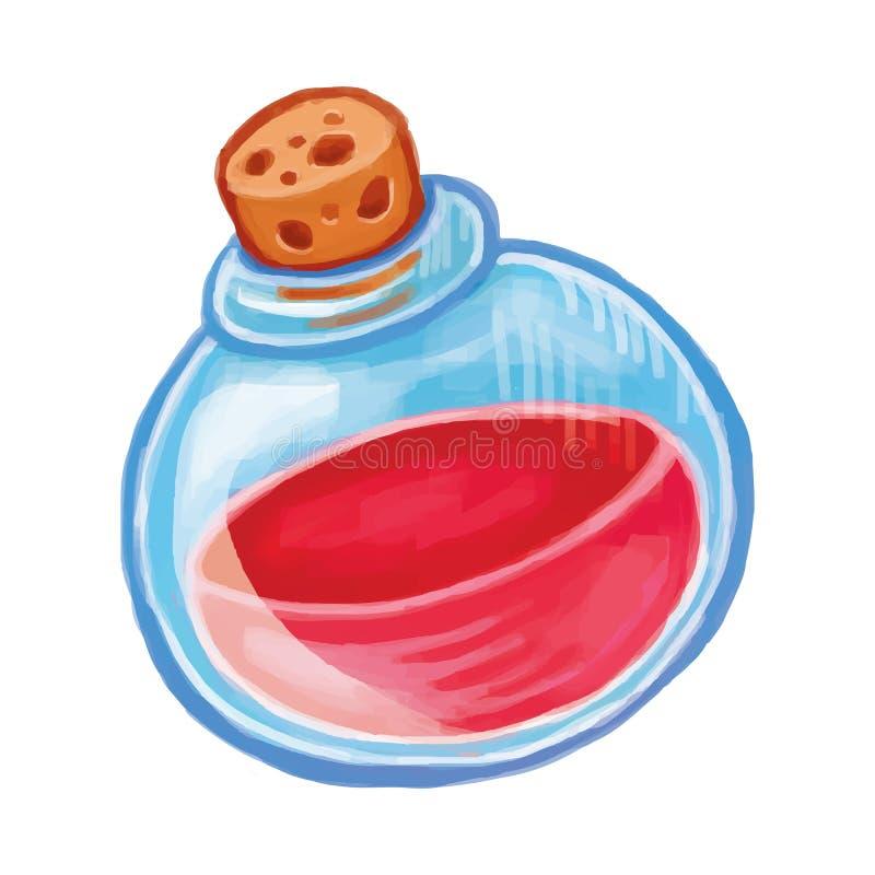 Botella mágica con el icono rojo de la poción Ejemplo de la historieta del elixir de la brujería ilustración del vector
