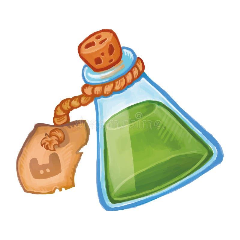 Botella mágica con el icono verde de la poción Ejemplo de la historieta del elixir de la brujería ilustración del vector